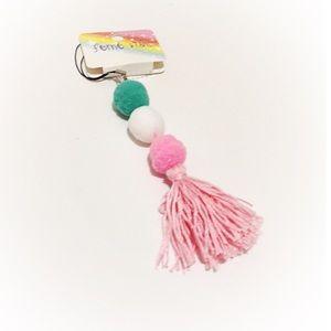 Pom Pom Fringe Hanging Tassel Bag Pink White Teal